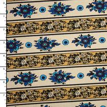 Mustard on Ivory Flower Stripe Stretch Jersey Knit