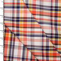 Orange, Navy, Yellow, and White Plaid Fine Cotton Shirting
