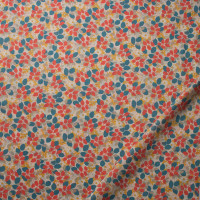 Tan, Orange and Teal Leaves and Flowers 'London Calling' Cotton Lawn