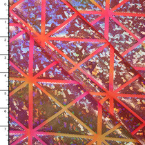 Geometric Silver Holographic on Pink and Yellow Tie Dye Nylon/Lycra