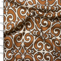 Brown and Ivory Scrollwork Brushed Sweater Knit