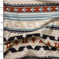 Brown and Ivory Pattern Stripe Brushed Sweater Knit