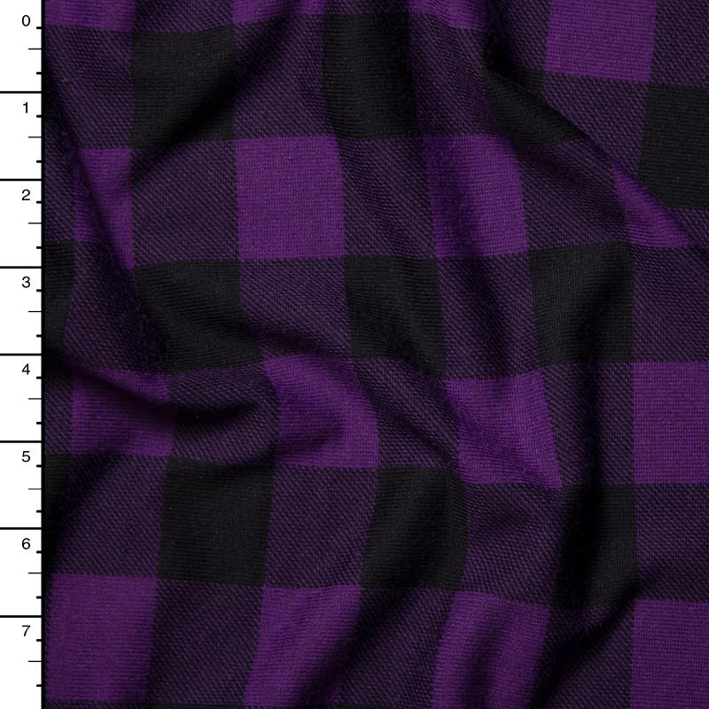 Black and Purple Buffalo Plaid Sweater Knit