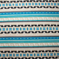 Bright Blue and Ivory Pattern Stripe Brushed Sweater Knit