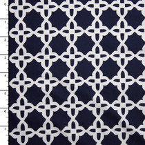 Navy Blue and White Geometric Print Nylon/Lycra