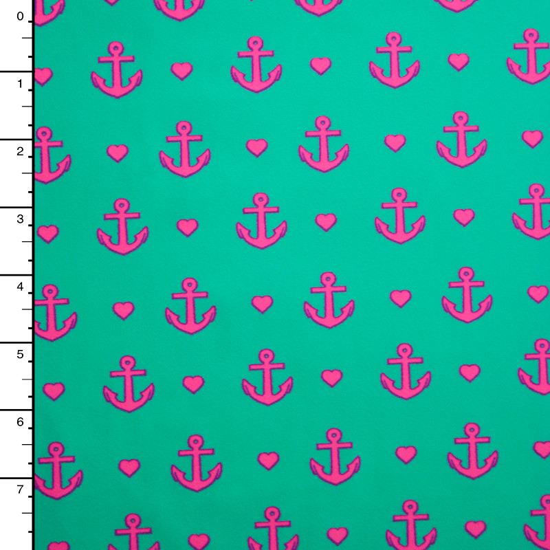 Neon Pink Anchors and Hearts on Bright Mint Nylon/Lycra