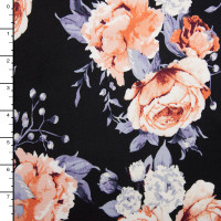 Grey and Peach Roses Modern Floral on Black Double Brushed Poly