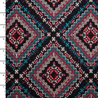 Turquoise, Coral, Tan, and Black Southwestern Diamond Print Double Brushed Poly Print