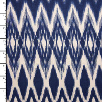 Blue and Offwhite Ikat Print Double Brushed Poly