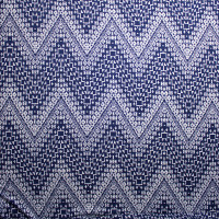 Navy Blue and White Patterned Chevron Print Double Brushed Poly