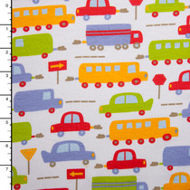 Buses and Cars on White Cotton/Lycra Jersey