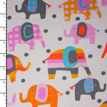 Colorful Elephants and Polka Dots on White Cotton/Lycra Jersey