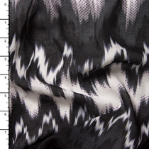 Black, White, and Grey Ikat Chevron Rayon Voile