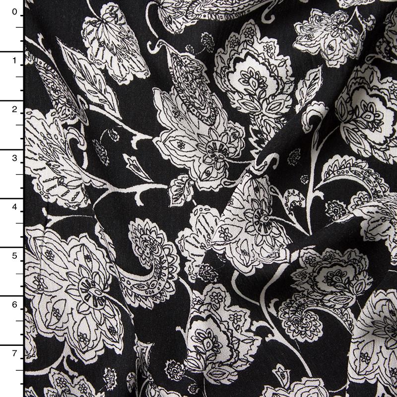White Ornate Floral on Black Rayon Gauze