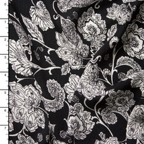 White Ornate Floral on Black Rayon Gauze