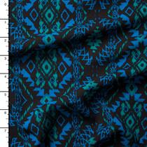 Blue and Green on Black Southwestern Rayon Gauze