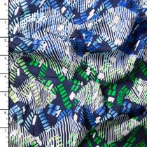 Lime, Blue, Navy, and White Island Geometric Rayon Challis Print