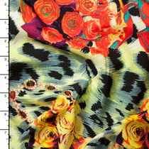 Roses and Jewelry on Animal Print Abstract Rayon Challis Print