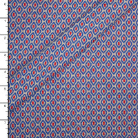 Red, Blue and Light Grey Ovals Soft Double Knit