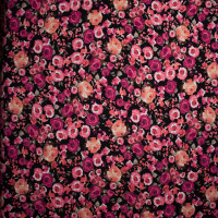 Pink and Coral Floral on Black Liverpool Print