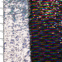 Metallic Rainbow and Holographic Silver Reversible Two Tone Sequin Fabric