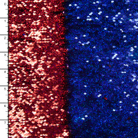 Holographic Red and Blue Reversible Two Tone Sequin Fabric