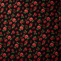 Red and Green Roses on Black Double Brushed Poly Spandex Knit
