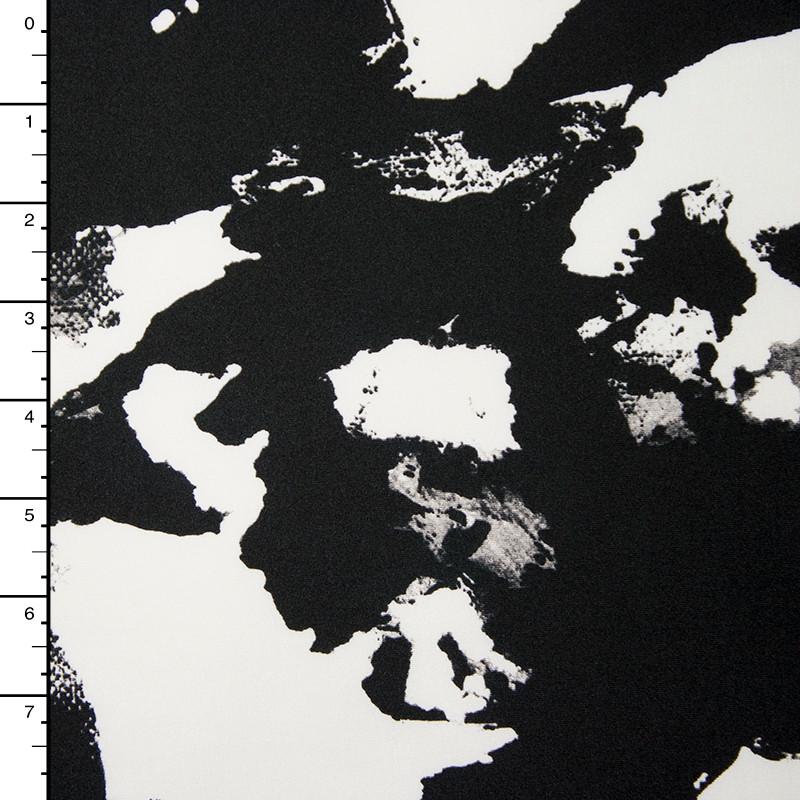 Black and White Ink Blot Grunge 4-Way Stretch Poly/Lycra