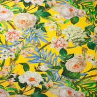 Bright Yellow Island Floral 4-way Stretch Poly/Lycra