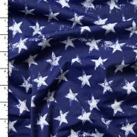 Grunge White Stars on Navy Blue 4-Way Stretch Nylon/Lycra