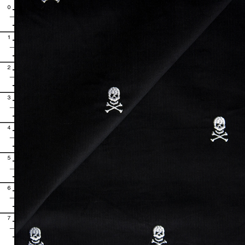 White Embroidered Skulls on Black Baby Wale Corduroy