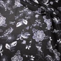 White on Black Floral Print Cotton Lawn