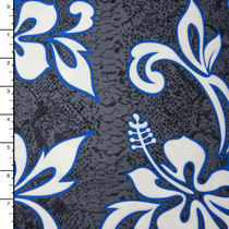 Charcoal, Blue, and White Midweight Hawaiian Print Cotton
