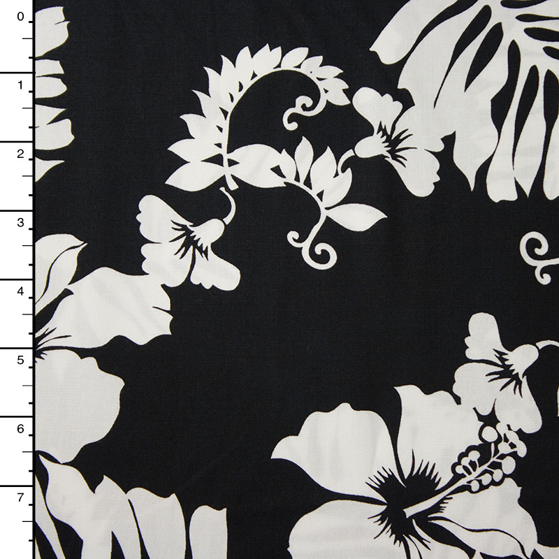 Black and White Hawaiian Print Cotton by Robert Kaufman