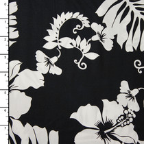 Black and White Hawaiian Print Cotton by Robert Kaufman