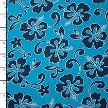 Turquoise and Navy Hawaiian Print Cotton by Robert Kaufman