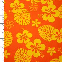 Orange and Yellow Hawaiian Print Cotton by Robert Kaufman
