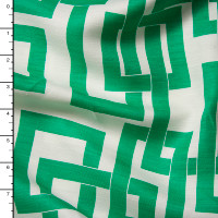 Kelly Green Linked Boxes on Offwhite Linen Look from 'Milly' Fabric By The Yard