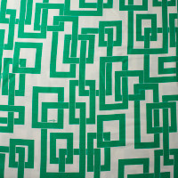 Kelly Green Linked Boxes on Offwhite Linen Look from 'Milly' Fabric By The Yard - Wide shot
