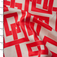 Red Linked Boxes on Offwhite Linen Look from 'Milly' Fabric By The Yard