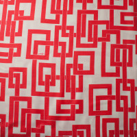 Red Linked Boxes on Offwhite Linen Look from 'Milly' Fabric By The Yard - Wide shot