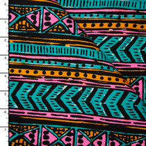 Neon Tribal Cotton/Linen Twill Print from 'Milly' Fabric By The Yard