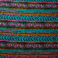 Neon Tribal Cotton/Linen Twill Print from 'Milly' Fabric By The Yard - Wide shot