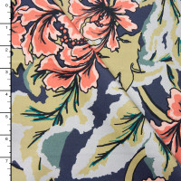 Coral and Green Floral on Navy Stretch Sateen from '7 for all Mankind' Fabric By The Yard