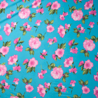 Pink on Turquoise Simple Floral Double Brushed Poly Spandex Print Fabric By The Yard - Wide shot