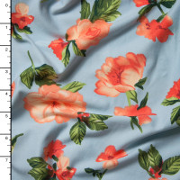 Peach on Baby Blue Simple Floral Double Brushed Poly Spandex Print Fabric By The Yard