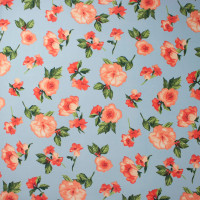 Peach on Baby Blue Simple Floral Double Brushed Poly Spandex Print Fabric By The Yard - Wide shot