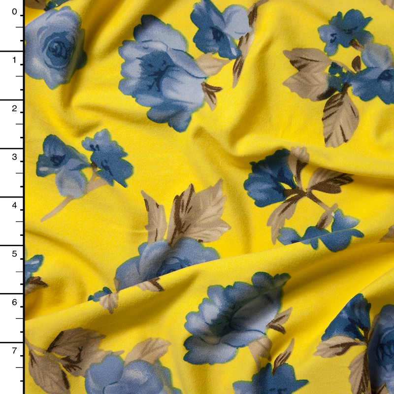 Light Blue on Yellow Simple Floral Double Brushed Poly Spandex Print Fabric By The Yard