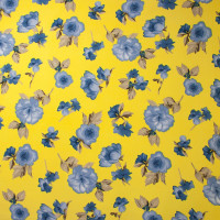 Light Blue on Yellow Simple Floral Double Brushed Poly Spandex Print Fabric By The Yard - Wide shot