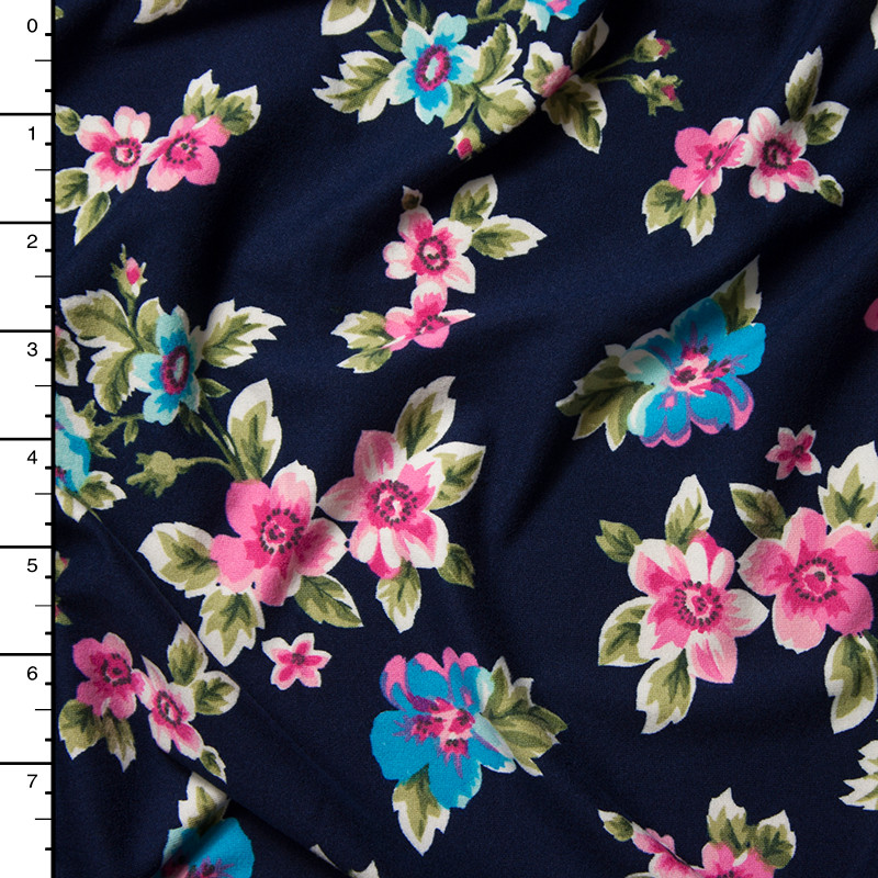Pink an Turquoise on Navy Blue Wildflower Floral Double Brushed Poly Spandex Print Fabric By The Yard